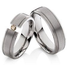 2 Eheringe Trauringe mit echtem Diamant Verlobungsringe aus Titan TLB25