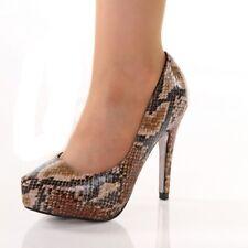 Sexy pumps tacón alto plataforma zapatos de serpientes-Optik beige #1393-p