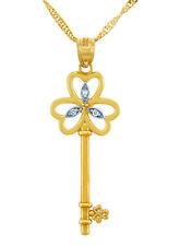 "Gold Three Heart Key Pendant 0.03ctw Round Diamonds 18"" Chain TCW 0.03 ctw"