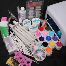 36W Dryer Lamp 12 Soild Color UV Gel Nail Art Decoration Tools DIY Sets