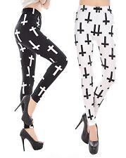 Damen Gothic Stretch Leggings Hose Kreuz Black & White Jeggings Strumpfhose S/M