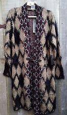 $328 NEW WOMEN  BCBG MAX AZRIA cardigan SWEATER BLACK/ TAN  MED, LARGE