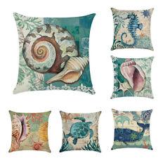Mermaid Ocean Beach Pillow Case Sofa Cotton Linen Throw Cushion Cover Home Dec