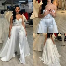 Women Jumpsuits Plus Size Wedding Dresses Pant Suits Removable Skirt Formal Gown