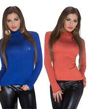 Damen Shirt Rollkragen Top Bluse Sweater Pulli Oberteil Langarm Pullover Rüsche