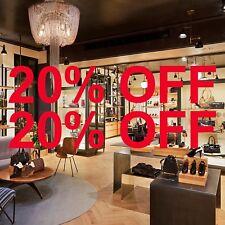 2 x 20% OFF Sale Shop Window Sign Vinyl Stickers Retail Display Art Decal DIY 55