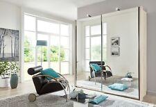 DESIGNER GERMAN 1.5M SLIDING WARDROBE BEDROOM FITTED FREE BLACK WHITE OAK GLASS