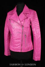 JENNER Ladies Real Leather Jacket Pink Short Fitted Soft Jacket Biker Jacket