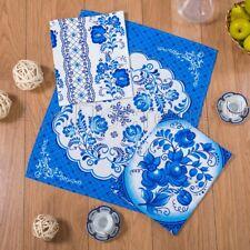 3pcs New Waffle kitchen towels Russian 100% cotton KHOKHLOMA Gzhel