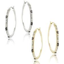 Sterling Silver .06ct Diamond & White Topaz Hoop Earrings - 2 Colors
