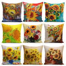 Retro Vintage Sunflowers Linen Home Decorative Pillow Case Cushion Cover 18''NEW