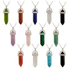 32colors Womens Men Necklace Column Quartz Pendant Stone Bullet Crystal Hot Sale
