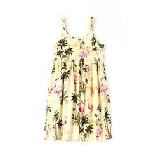 MADE IN HAWAII GIRL LUAU BEACH CRUISE ELASTIC STRAP DRESS YELLOW FLAMINGO