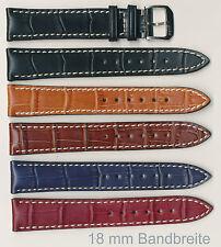 Echtes Lederuhrenband, 18+19+20+22 mm, Alligator, mit Ziernaht und Polsterung
