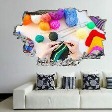 Knitting Wool Yarn Needles Hobby Wall Art Sticker Mural Decal 3D Effect FL22