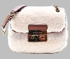NWT MICHAEL KORS Shearling Fur Leather SLOAN Chain Shoulder Purse Cross Bag $298