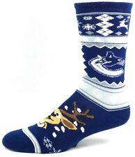 Vancouver Canucks Hockey Ugly Christmas Sweater Reindeer Crew Sock Blue