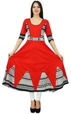 Bimba Women Long Flaired Kurti Red Cotton India Custom Clothing Designer Kurta