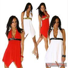 NEW WOMENS MINI COCKTAIL HALTER NECK DRESS SIZE 10-12 LADIES PARTY CLUB WEAR
