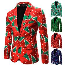 US Stock Men One Button Christmas Tuxedo Suit Party Coat Xmas Blazer Jacket Top