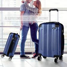 Hard Shell Cabin Suitcase 4 Wheel Luggage Trolley Case Lightweight Navy