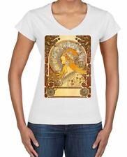 Alphonse Mucha The Zodiac Art Nouveau Large Print Women's V Neck T-Shirt