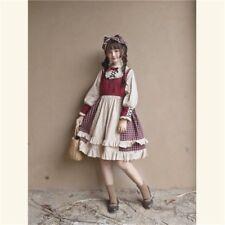 Women Lolita Plaid Dress Ruffled Collar Long Puff Sleeve Fairy Dolly Swing Skirt