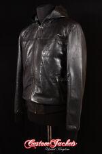 Men's SEVENTIES HOODED Black Short 70's Bomber Pilot Lambskin Leather Jacket