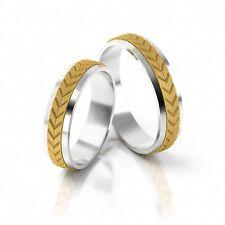 1 Paar Trauringe Eheringe Hochzeitsringe Gold 333 - Bicolor - Muster+Polierung