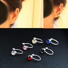 4mm Earrings Crystal Ear Cuff Jewelry Fake Piercing Zinc Alloy Ear Clip earring