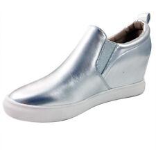 Beston Cozy-1 Wedge Slip On Sneaker Silve