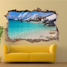 Roches mer tropicale Plage Autocollant Mural 3D Art Autocollant Mural Salle de bureau decor VZ6