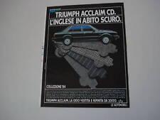 advertising Pubblicità 1984 TRIUMPH ACCLAIM CD
