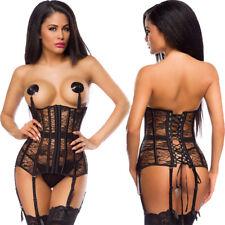 US Women Burlesque Lace UP Top Black Corset Underbust Suspendered Body Shaper