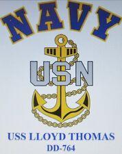 USS LLOYD THOMAS  DD-764*  DESTROYER * NAVY W/ ANCHOR* SHIRT