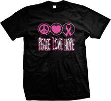 Peace Love Hope Breast Cancer Pink Inspirational Motivation Mens T-shirt