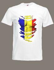 Romanian Flag T-SHIRT Romania See Muscles through Ripped T-shirt Size S - XXXL
