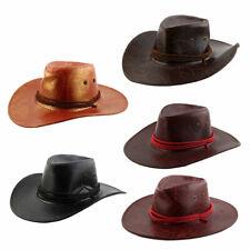 Leaf Pattern Adjustable Neck Strap Wide Brim Western Style Sunhat Cowboy Hat