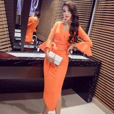 Élégant vestido traje de tubo naranja largo mangas campana cómodo 3975