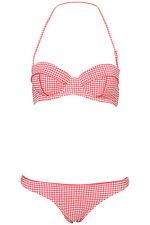 Cheque de estilo vintage y retro Cuadros Rosa Conjunto Bikini Tallas 6-10-12-14-16 BNWT