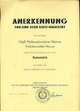 DDR-Urkunde-1967-Betrieb Weimar-Buttermilch
