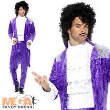 Anni'80 Musicista Viola Da Uomo Costume Pop Icon Celebrità Costume da principe 1980s