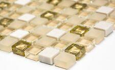 Mosaikfliese  Stein mix weiß matt/gold Glas Naturstein  Wand  Art: 92-1201_b
