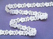 """""""Laces Galore"""" ~White Rose Guipure/Venise Lace Trim1.5 cm Bride Wedding Trim"""