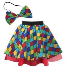 Women's CLOWN Costume Skirt or BOW TIE Halloween FANCY DRESS Jester Circus