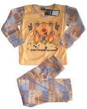 Mädchen langarm Kinder Schlafanzug Pyjama Nachtwäsche Teddy Schmetterlinge Neu