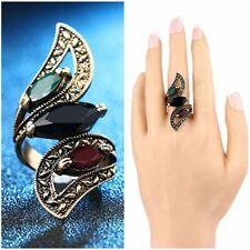 Mode  Luxe Bijoux Turcs Résine Colorée Vintage Big Ring Antique Or Plaqué