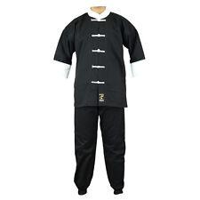 Playwell Kung Fu Uniform Black/White Gi Adults Martial Arts Suits Cotton Tai Chi