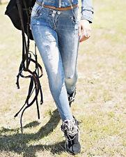 Foggi Damenjeans Jeanshose Röhrenjeans Hüftjeans destroyed jeans Hose Blau XS-M