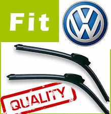 2 x Front AERO Stlye Windscreen Wiper Blades Retro Fit FLAT BEAM for VW